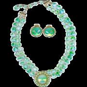 SALE Vintage Hattie Carnegie Green Opaline Givre Art Glass Rivoli Necklace Earring Set