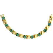 Vintage Trifari Emerald Green May Birthstone Christmas Ribbon Bracelet