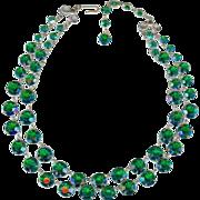 Vintage Emerald Green Open Back Bezel Set Crystal Art Deco Style 2 Strand Necklace