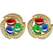 Vintage Ciner Emerald Green Ruby Red Sapphire Blue Pave Earrings