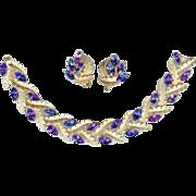 SALE Vintage 1960's Trifari Peacock Blue Purple Rhinestone Bracelet Earring Set