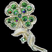 Large Vintage Lisner Emerald Green Rhinestone Clover Shamrock Brooch Pin