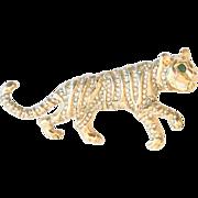 Vintage KJL Kenneth Jay Lane Tiger Pave Brooch Pin