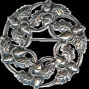 Vintage Danecraft 1940's Sterling Silver Acorn Oak Leaf Brooch Pin