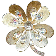 SALE Vintage 1960 Trifari Clover Flower Heart Clear Rhinestone Brooch Pin