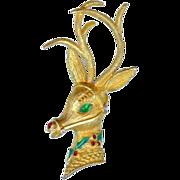 Vintage 1960's Mylu Rudolf Reindeer Red Green Enamel Christmas Brooch Pin