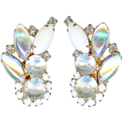SOLD Vintage 1960's Hobe Iridescent Art Glass Earrings Bridal Mint Condition