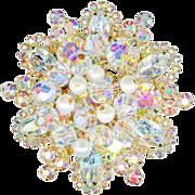 Juliana D and E Clear Rhinestone Pearl Dangle Snowflake Brooch Pin