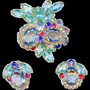 Vintage Juliana D&E Aqua Blue Pink Purple Rhinestone Owl Brooch Earring Set