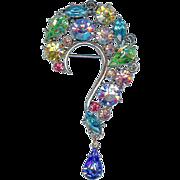 SALE Scarce Vintage Lisner Question Mark Pastel Blue Green Yellow Dangle Brooch Pin