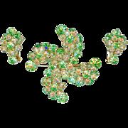 SALE Confirmed Vintage Juliana D & E Green Citrine Pinwheel Brooch Pin Earring Set