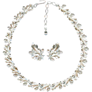Terrific Vintage Crown Trifari Fall Acorn Oak Leaf Necklace Earring Set