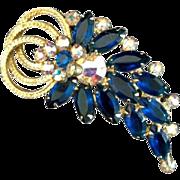 Vintage Juliana D&E Sapphire Blue Twisted Loop Brooch Pin