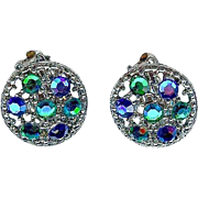 Vintage 1960's Weiss Blue Green Austrian Crystal Dome Earrings In Book