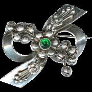 SALE Sweet Vintage 1940's Hobe Sterling Silver Green Floral Rhinestone Brooch