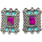 Vintage 1970's Sterling Silver Turquoise Ruby Glass Earrings