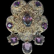 Vintage 1920's B Blumenthal Filigree Amethyst Glass Brooch Pin