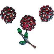 Vintage Joseph Warner Red Cherry Berry Brooch Pin Earring Set