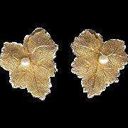 SALE Vintage Ciner Autumn Maple Leaf Faux Pearl Clip Earrings