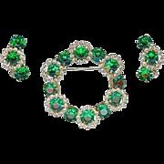 Vintage 1960's Emerald Green Rhinestone Wreath Brooch Pin Earring Set