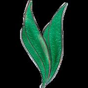 SALE Karl Rasmussen 1950's Norway Green Enamel Sterling Silver Double Leaf Brooch Pin