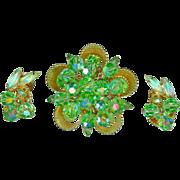 Vintage 1960's Juliana D&E Lime Green Dangles Cup Setting Brooch Earrings
