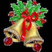 Vintage Weiss Green Red Enamel Holly Dangling Christmas Bells Brooch Pin