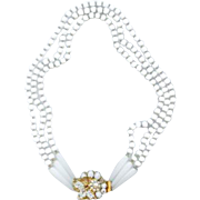 Retro Vintage Original by Robert White Glass Bead 3 Strand Necklace Bridal