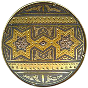 Lovely Vintage Star Damascene Spain Round Brooch Pin