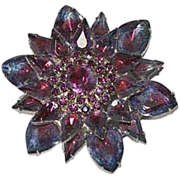 Striking Vintage 1960's Two Tone Pink Blue Layered Large Flower Brooch