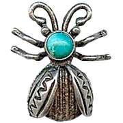 Sweet Vintage Navajo Old Pawn Sterling Silver Turquoise Ladybug Bug Pin