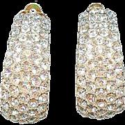 Sparkling Vintage Ciner Clear Ice Rhinestone Pave Hoop Earrings