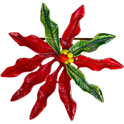"Festive Vintage 3"" Original by Robert Red Green Enamel Christmas Poinsettia Brooch Pin"