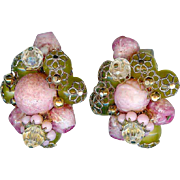 Pristine Hobe Hand Wired Pink and Green Beaded Earrings