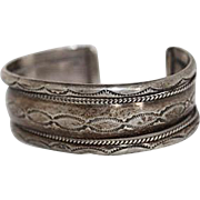 SALE Old Pawn Navajo Handmade Hand Stamped Sterling Silver Cuff Bracelet 40.4 Grams