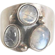 Lovely Sterling Silver Triple Moonstone Modernist Ring Size 6.5