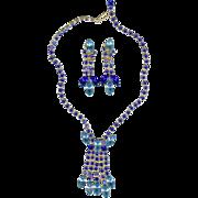 Gorgeous Vintage 1960's Juliana Style Royal Blue Dangle Necklace Earring Set