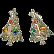 Lovely Vintage Hollycraft Baguette Candle Rhinestone Christmas Tree Earrings