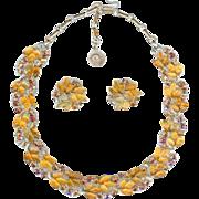 SALE PENDING Lisner 1950's Fall Amber Topaz Thermoset Lucite Oak Leaf Necklace Earring Set