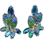 SALE Beautiful Vintage Blue Green Art Glass and AB Earrings Circa 1960's