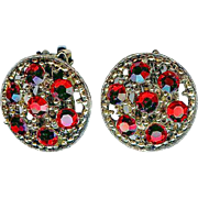 Lovely Vintage 1960's Weiss Red Austrian Crystal Dome Earrings In Book