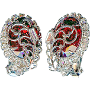 Exquisite Vintage Hobe Caged Ruby Red Rhinestone Diamante Earrings