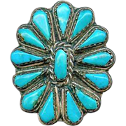 Fine Handmade Old Pawn Zuni Sterling Silver Natural Turquoise Cluster Ring 7.5