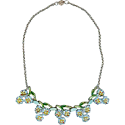 Retro C 1940 Coro Forget Me Not Enamel Flower Sweetheart Necklace