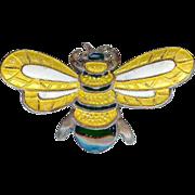 Margot De Taxco Sterling Silver Yellow Black Enamel Bumble Bee Brooch Pin