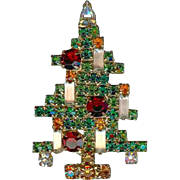 Coveted Vintage WEISS 5 Candle Red/Green Rhinestone Xmas Brooch Pin In Book!