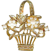 Sweet Easter Basket of Flowers Faux Pearls Gold Tone Brooch Pin
