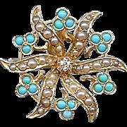 Antique Art Nouveau 14K Gold Diamond Turquoise Pearl Sun Burst Brooch Pin Pendant