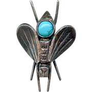 Rare Tiny Old Navajo Sterling Hand Stamped Turquoise Bee Bug Beetle Brooch Pin
