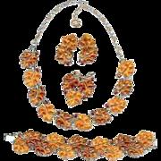 SALE Vintage 50's Lisner Jelly Amber Topaz Oak Leaf Fall Necklace Brooch Bracelet Earrings